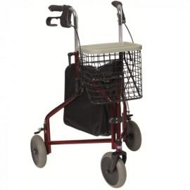 Rollator 3 roues avec freins et panier pliant